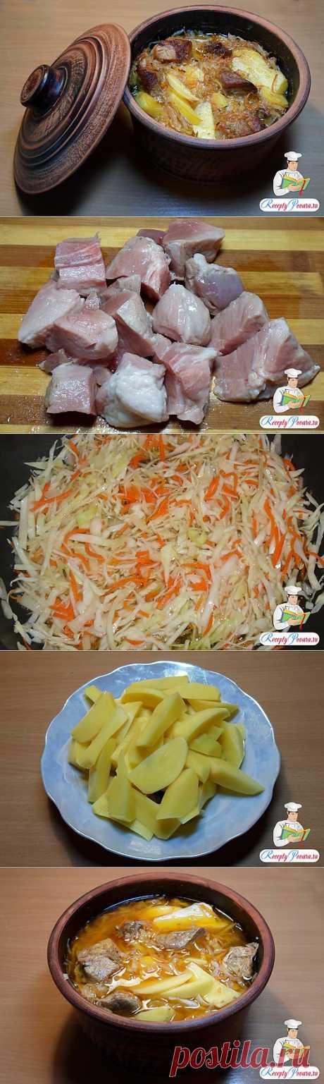 Картофель с мясом и капустой в глиняной кастрюле | Ваши любимые рецепты