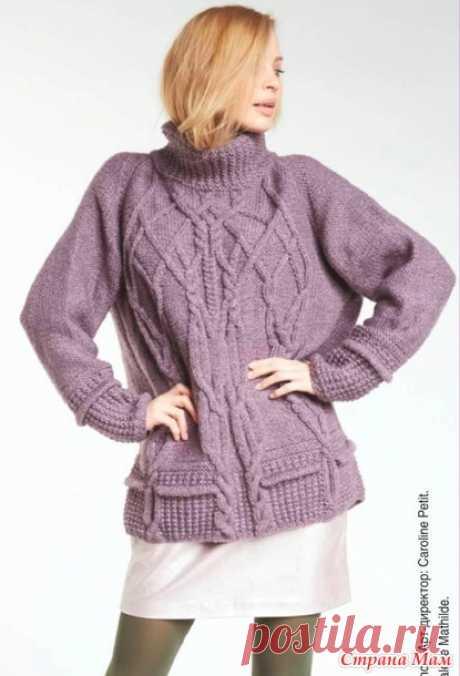 Пуловер с узором из кос - Вязание - Страна Мам