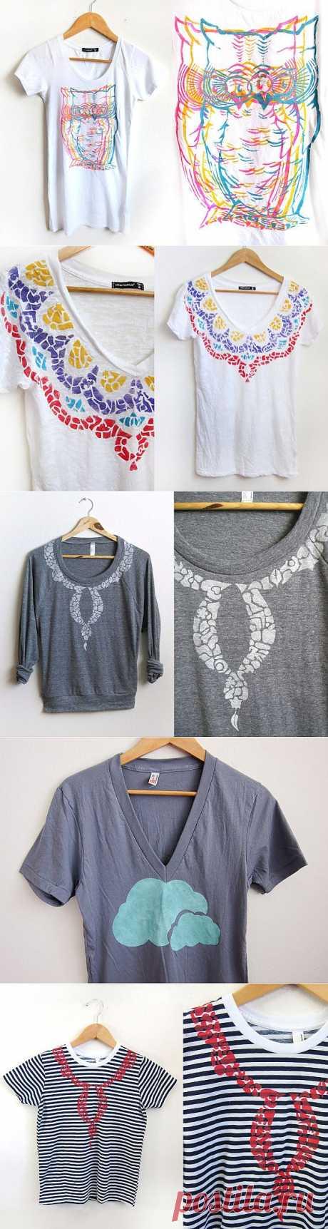 25 идей по декору футболок / Рисунки и надписи / Модный сайт о стильной переделке одежды и интерьера
