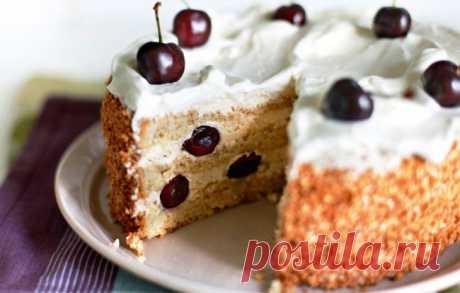 Ореховый торт с черешней - Пошаговый рецепт с фото своими руками Ореховый торт с черешней - Простой пошаговый рецепт приготовления в домашних условиях с фото. Ореховый торт с черешней - Состав, калорийность и ингредиенти вкусного рецепта.