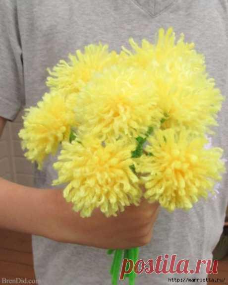 Хризантемы из помпонов. Мастер-класс