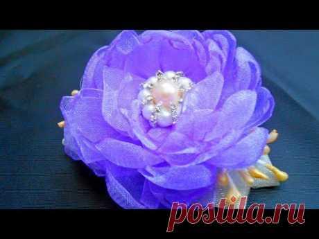 Канзаши.Цветок из ленты органзы МК/DIY Organza flower/PAP Flor de organza#174