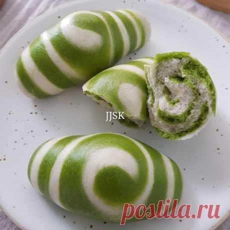 Вкус счастья в кухне любви: Matcha двухцветный булочка ролл Matcha Steamed Buns