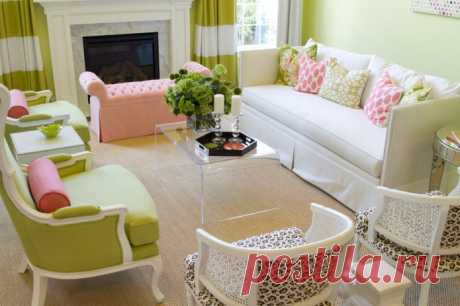 Салатовый цвет в интерьере: сочетания, выбор стиля, отделки и мебели