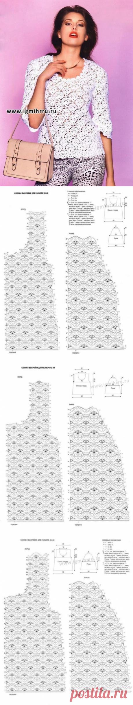 Модели вязания со схемами и описаниями: Ажурный пуловер крючком