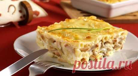 Запеканка из макарон с курицей и грибами Постой рецепт приготовления вкусной запеканки из макарон с курицей, сыром и грибами.
