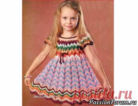 Платье для девочки с узором «зигзаг». Описание и схема | Детская одежда крючком. Схемы