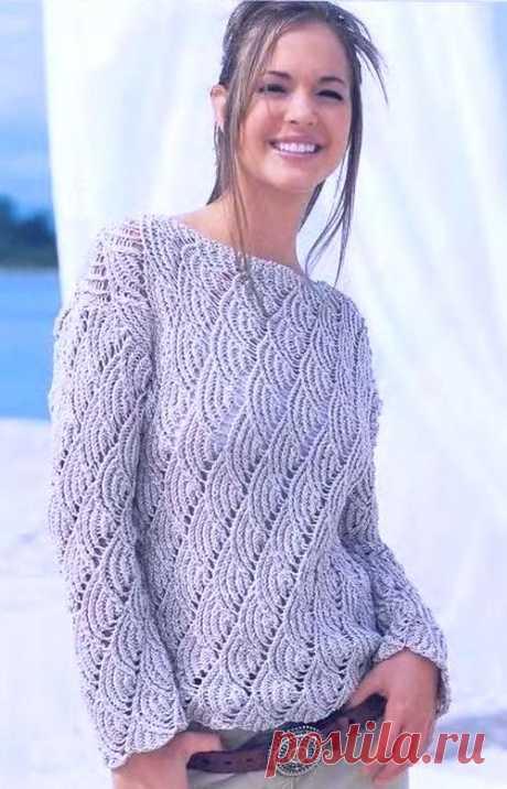 Cерый ажурный пуловер спицами   Ажурные Узоры