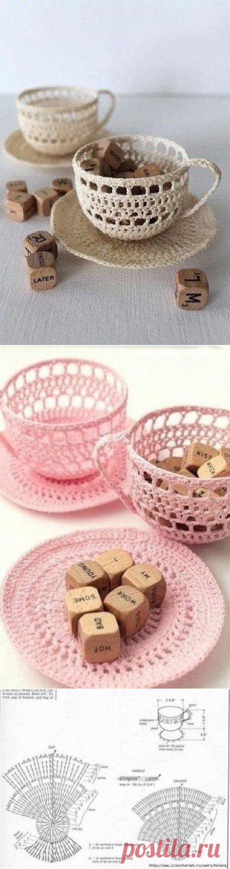 Вязаные чашечки и блюдца