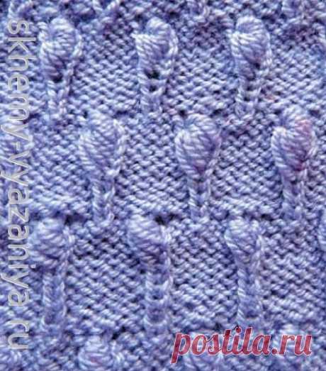 Пышные шишечки из петель предыдущих рядов - схема вязания узора спицами