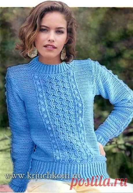 Женский пуловер крючком.