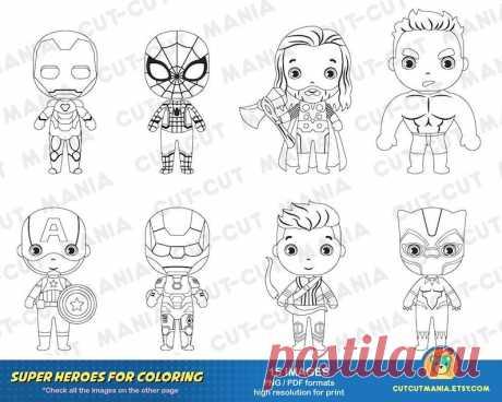 Мстители для раскраски Супергерои черно-белые клипарты   Etsy
