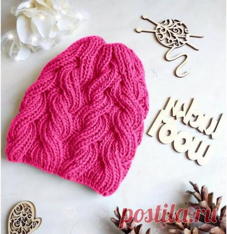 Описание вязания шапки спицами. Шапка с косами из пышной резинки