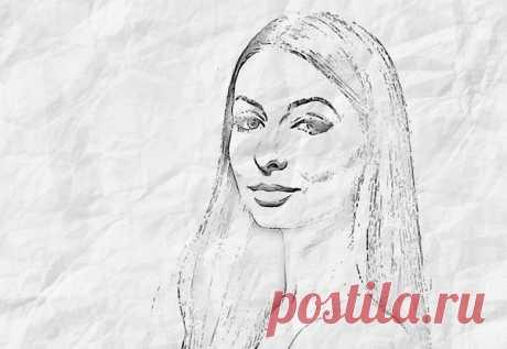 Рисунок из фотографии на мятой бумаге