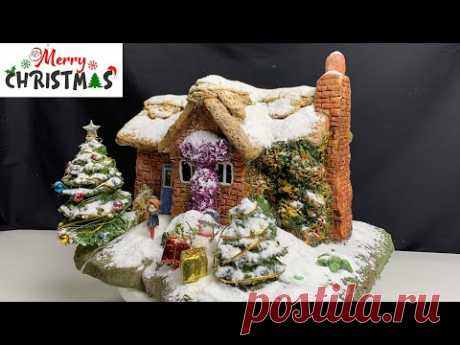DIY Christmas Thatched house Decorations using  Clay And Cardboard