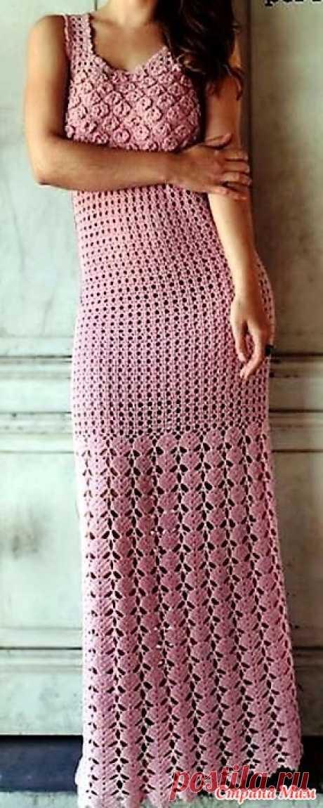 . Розовое макси-платье Romance de Marcelo Nunes. Стильное и изящное макси-платье выполнено несколькими узорами схемы которых представлены ниже. Пряжа в одной бабине 500 м.85 % хлопок 15% фибра. Схема узора на бретелях