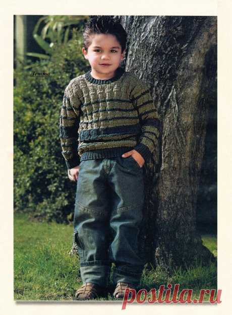 """Пуловер для мальчика """"Любимый первоцвет"""" (на 6 лет)"""