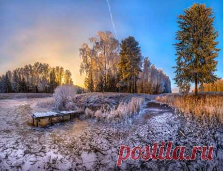 El estanque que se ha helado en Pávlovsk el parque. El autor de la foto — Fiodor Lashkov: