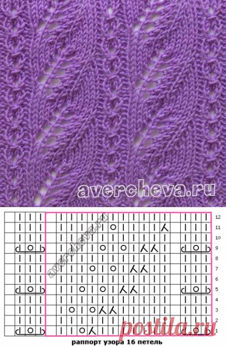 Узор 671| каталог вязаных спицами узоров