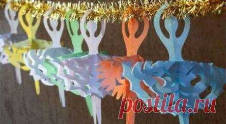 Снежинки - балеринки своими руками из бумаги