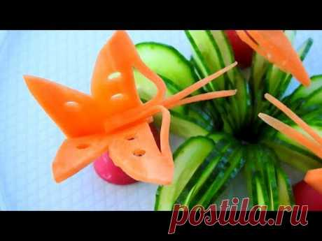 Carrot Butterfly And Cucumber Carving Garnish