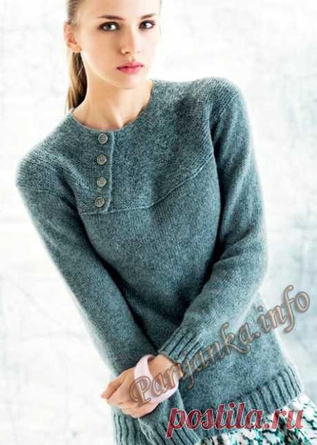 Пуловер на кокетке (ж) 12*125 Phildar №4799