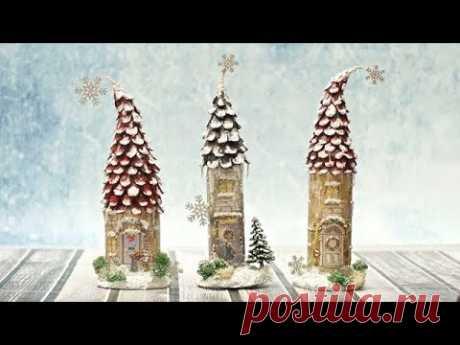 Decoupage zimowe domki z butelek - DIY tutorial