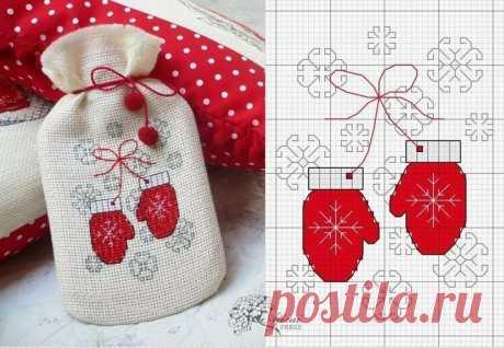 Новогодняя и Рождественская вышивка.  Схема
