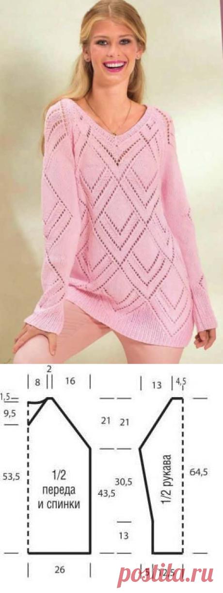 Розовый пуловер с ажурным узором из ромбов | Ажурные Узоры