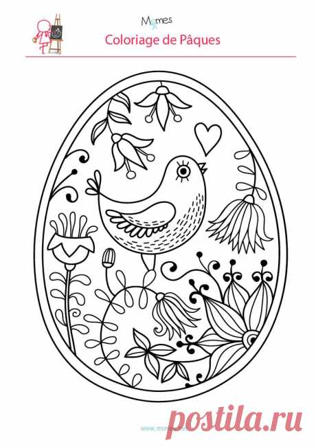 Coloriage de l'oeuf de Pâques à l'oiseau   Пасха, Яйца и Пасхальные Яйца