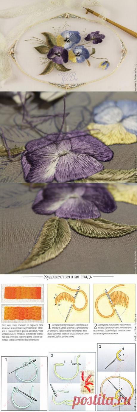 Мастер-класс по вышивке односторонней гладью. Нежный цветок «Виола»