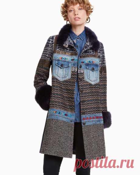 DESIGUAL Coat SABRINA 18WWEWA3 Denim Patchwork | Winter 2018 2019