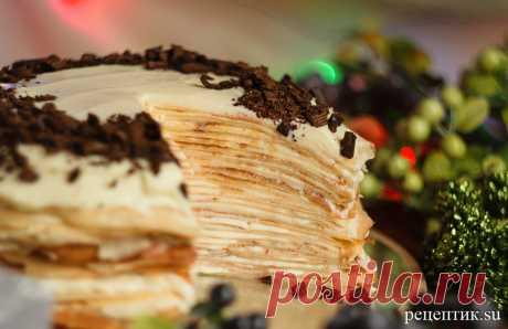 Блинный торт «Крепвиль» с маскарпоне - рецепт с фото / Рецептик.su самый вкусный