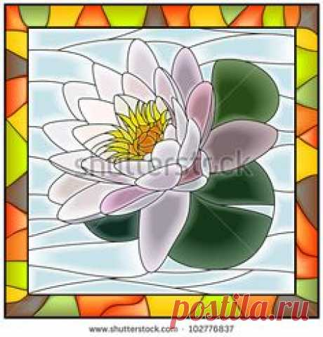 Vector illustration of flower white water lily stained glass window with frame.