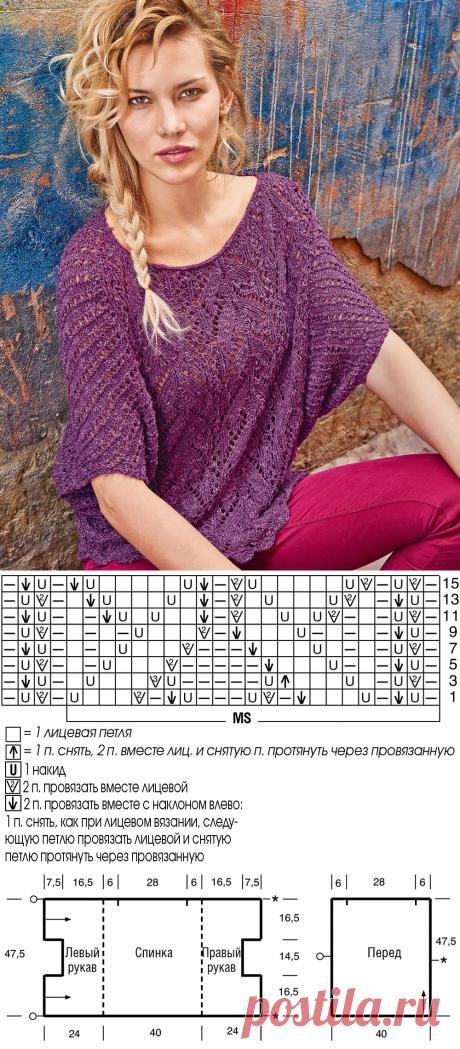Джемпер‑пончо с ажурным узором - схема вязания спицами. Вяжем Джемперы на Verena.ru