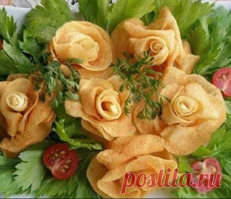 Розы из картошки на Новый год. Пошаговый мастер класс.