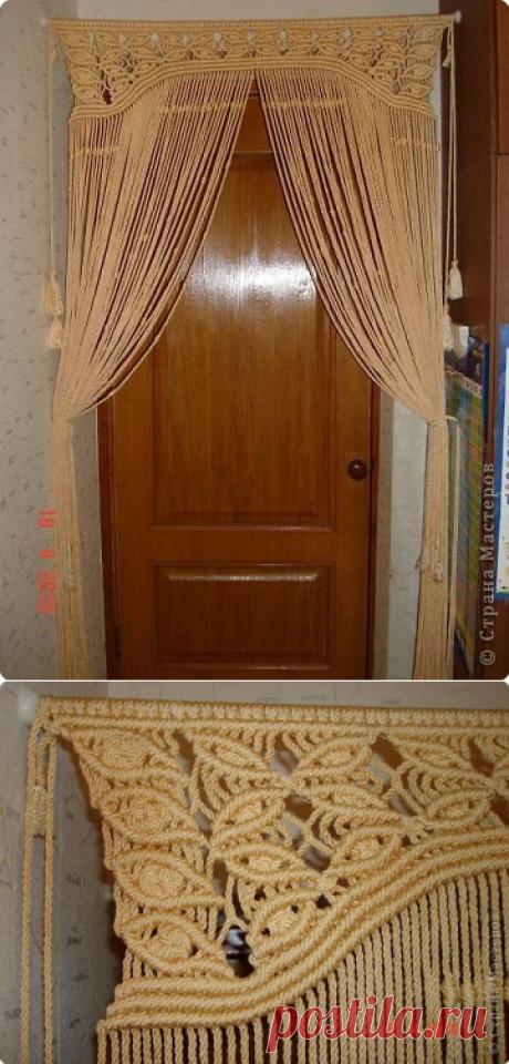 Штора на дверь. Макраме.