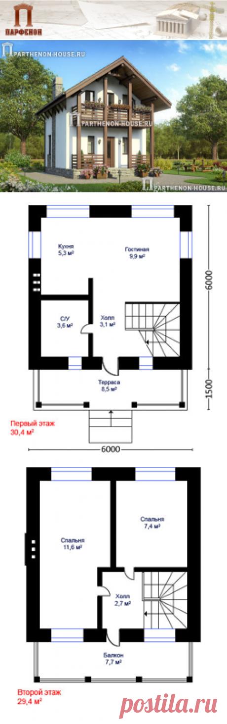 Проект компактного дома из кирпича ПА-43П:    Проект компактного дома с мансардой. Дом в технологии строительства из кирпича.   Область строительства: климатические условия России с показателем градусо-сутки отопительного периода ГСОП до 5000°С сут.   Площадь общая: 49,69 кв.м. + 16,10 кв.м. Высота 1 этажа: 2,720 м. Высота 2 этажа: от 1,700 м. до 2,900 м.   Технология и конструкция: строительство дома из кирпича.