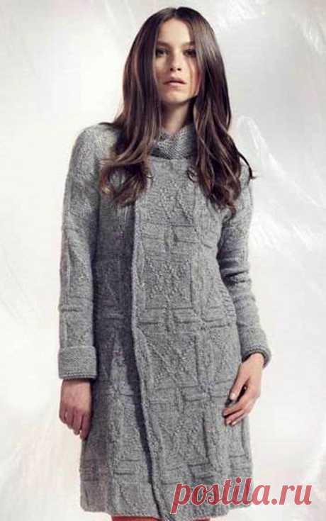 www.SHPULYA.com - Серое пальто из альпаки, вязаное спицами
