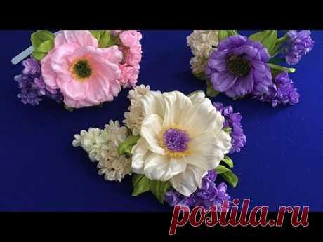 Ribbon flowers.Lilac/Floras de cinta.Lila/Цветок и сирень из лент