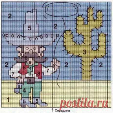 Пуловер с мексиканцем и кактусом