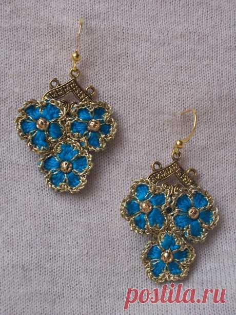 """Outstanding Crochet: Crochet Earrings """"Forget-me-not"""""""