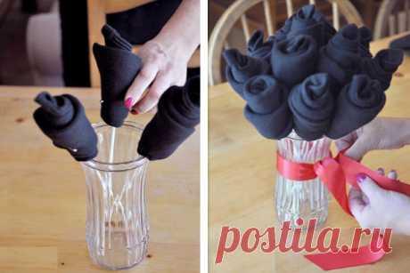 Как сделать букет из носков для мужчины своими руками Фото