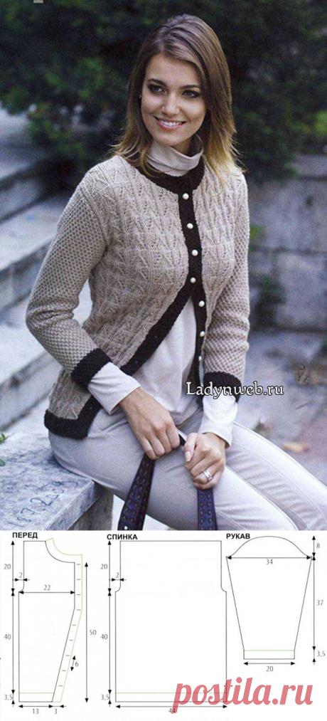 Бежевый жакет с коричневой окантовкой на пуговицах спицами: схемы и описание | Ladynweb.ru