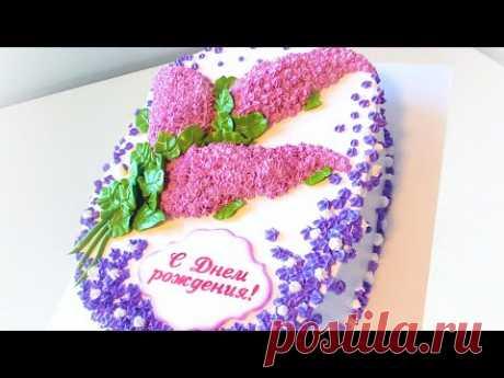 Тортик с сиренью-легко и красиво))(крем БЗК). /Cake with lilac-easy and beautiful))(protein custard)