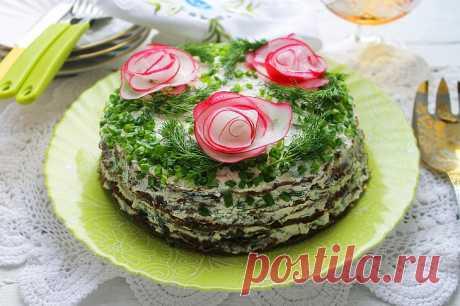 Печёночный торт с творожным кремом: рецепт с фото пошагово