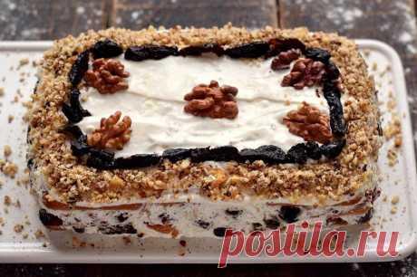 Торт без выпечки с черносливом и грецкими орехами | Рецепты салатов и вкусняшек | Яндекс Дзен