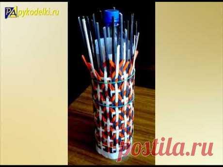 Новые техники плетения из газет - Художественная штопка - урок 12 / Weaving vases from Newspapers