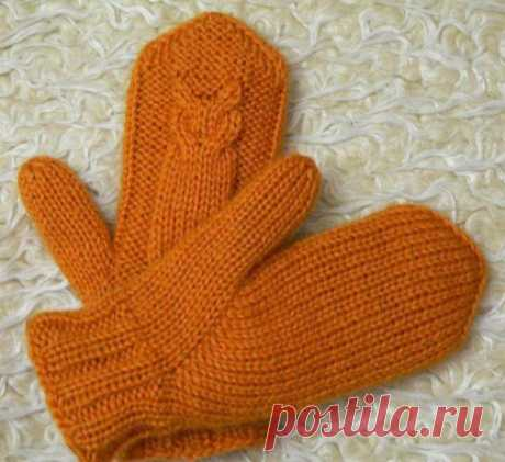 Двойные рукавички с совушками (Вязание спицами) – Журнал Вдохновение Рукодельницы