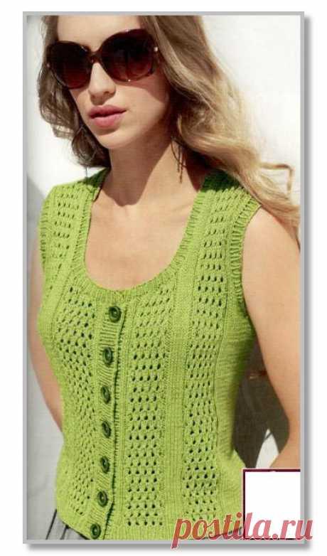 Вязание спицами. Описание женской модели со схемой и выкройкой. Жилет с круглым вырезом и широкими ажурными дорожками. Размеры: 44/46 (48/50 - 52/54)